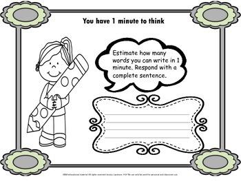 Estimation writing, short activity, bell ringer, closure, mrs