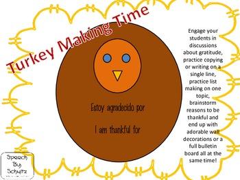 Turkey Making Time: Estoy agradecido por / I am thankful for