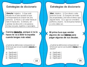 Destreza del diccionario - Dictionary Skills Task Cards - Spanish