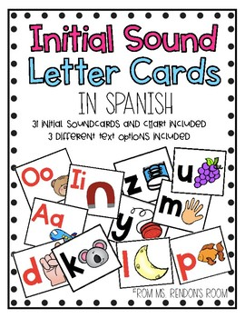 Estrellita Initial Sound Letter Cards in Spanish *Updated*