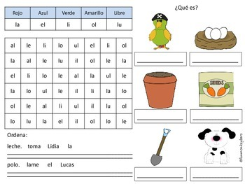 Estructura de la frase y sílabas trabadas y mixtas