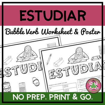 Estudiar Bubble Verb Worksheet/Poster
