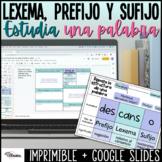 Organizador gráfico Prefijos y sufijos | Spanish Distance