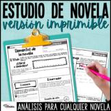Estudio para cualquier novela | Spanish Novel Study Upper Grades