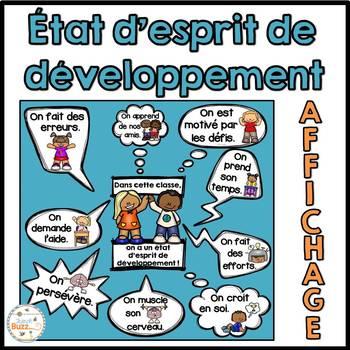 État d'esprit de développement - French Growth Mindset -Affichage pour la classe