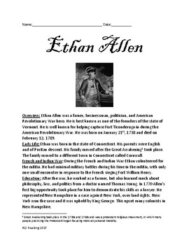 Ethan Allen - Vermont Founder War Hero lesson article information facts review