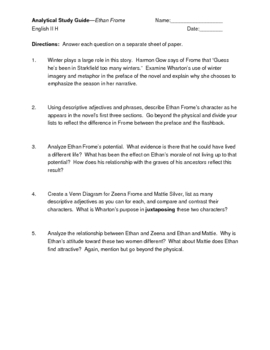 Ethan Frome Analysis Questions