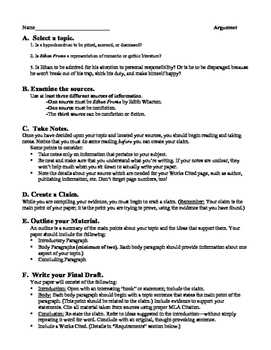 Ethan Frome: Argument Essay, Rubric, & Peer Editing