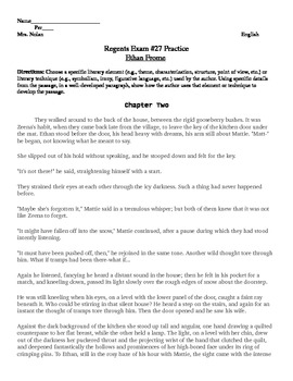 Ethan Frome Chapter 2 New York State English Regents Exam #27 Practice