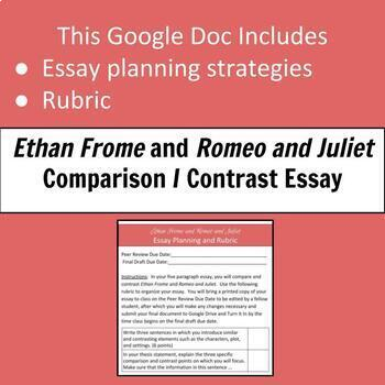 ethan frome and romeo and juliet comparison and contrast essay tpt ethan frome and romeo and juliet comparison and contrast essay