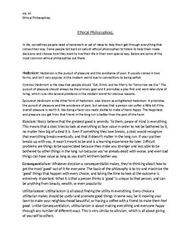 Ethical Philosophies Handout.