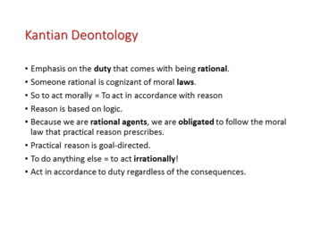 Ethics: Kantian Deontology, Categorical Imperative