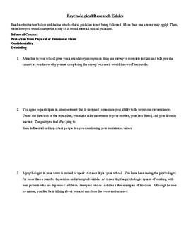 Ethics in Psychology Worksheet