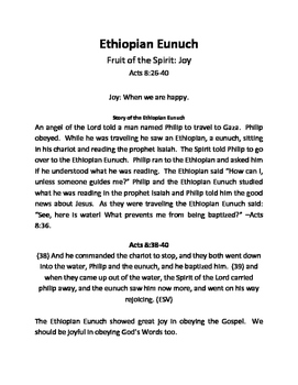 Ethiopian Eunuch Story Summary (Joy)