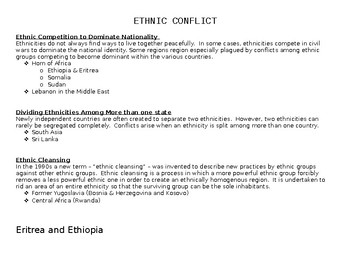 Ethnic Conflict Project Student Chart