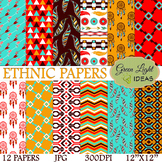 Ethnic Digital Papers / Boho Backgrounds / Boho Papers / T