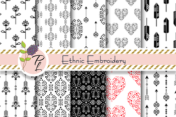 Ethnic Embroidery Seamless Pattern Set. Digital paper pack.