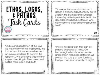 Ethos, Logos, Pathos Task Cards for Stations or Gallery Walks