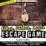 Ethos, Pathos, Logos Escape Game Break Out Box Activity for Rhetorical Devices