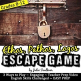 Ethos, Pathos, Logos Escape Game Break Out Box Activity for Rhetorical Devices