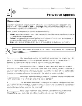 Ethos Pathos Logos Persuasive Appeals Handout