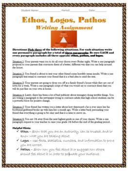 Ethos, Pathos, Logos Writing Assignment & Grading Rubric ELA 8, 9, 10, 11