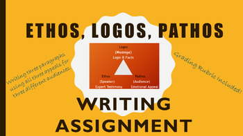 Ethos, Pathos, Logos Writing Assignment & Grading Rubric ELA 8, 9, 10, 11