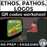 Ethos, Pathos, and Logos QR Codes Worksheet