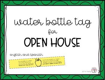Etiquetas para botellas de agua/Open house