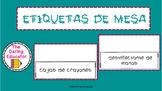Etiquetas para mesa (Table Tents For Meet The Teacher Night)