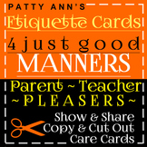 Oral Communication Skills Etiquette Cards 4 Good Manners Copy-Cut Out Task Cards