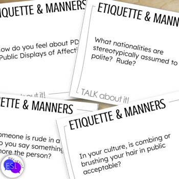 Etiquette and Manners Themed Discussion Topics