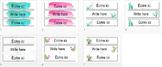 Étiquettes : Aquarelle (bleu et rose) / Labels : Watercolo