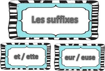 Étiquettes (ateliers, centres) préfixes et suffixes