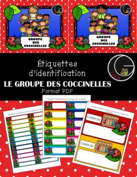 Étiquettes d'identification - Groupe des coccinelles