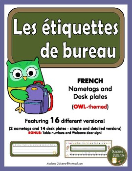 FRENCH desk name plates & Nametags - OWL theme (Étiquettes de bureau - hiboux)