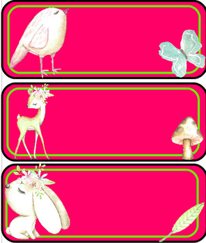 Étiquettes de casiers ou de bureaux: animaux trinbals de la forêt