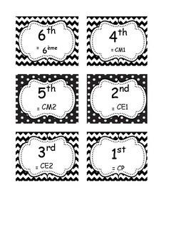 Etiquettes des classes (1st à 6th = CP à la 6ème)