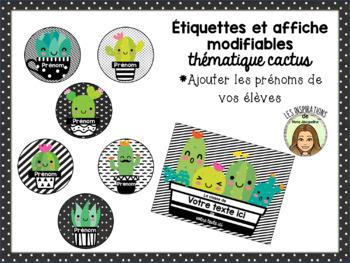 Étiquettes et affiches MODIFIABLES cactus theme EDITABLE tags and poster