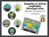 Étiquettes et affiches MODIFIABLES cactus theme EDITABLE t