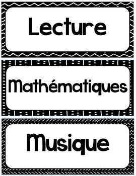 Menu du jour - Étiquettes matières scolaires