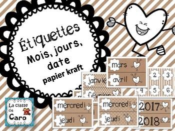 Étiquettes mois, jours, date- décoration de classe