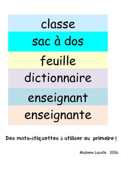Étiquettes-mots: Salle de classe