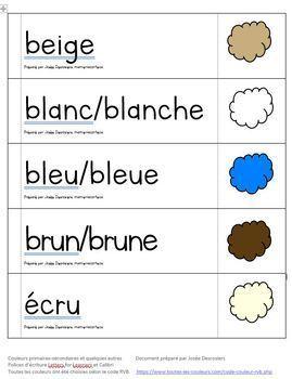 Étiquettes-mots couleurs