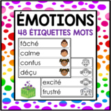 Émotions étiquettes-mots- Emotions Word Wall French