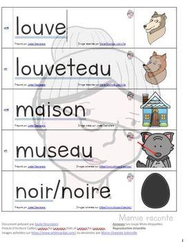 Étiquettes-mots sur le loup et les contes dans lesquels il se retrouve