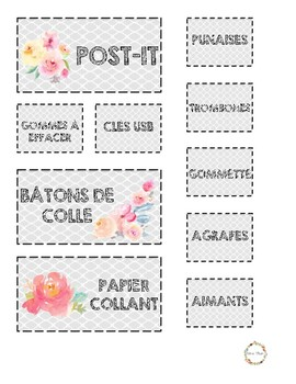 Étiquettes pour boite de rangement
