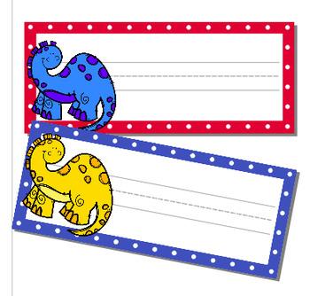 Étiquettes pour bureaux ou casiers:  dinosaures