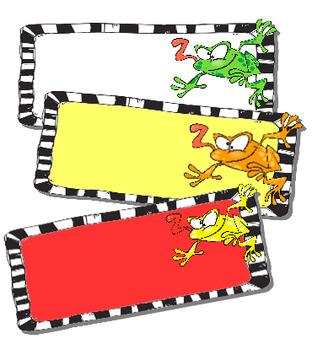 Étiquettes pour bureaux ou casiers:  grenouilles