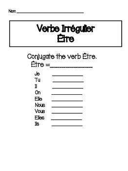 Être Verb Workbook